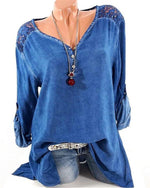 Plus Size Fashion Woman Sexy Lace Collar Loose V Collar Long Sleeved T Shirt