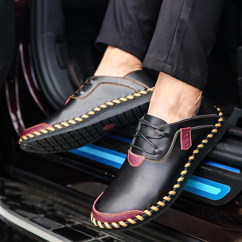 Men's Stitching Soft Sole Breathable Casual Lace Up Driving Loafers