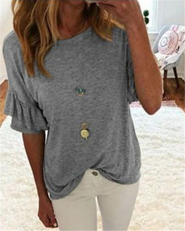 Solid High Round Neck Women Casual Tops