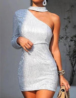 Women Sequined Off Shoulder Long Sleeve Party Dress
