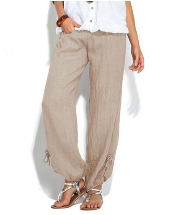 Women Casual Button Plus Size Wide Leg Pants