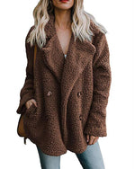Shawl Collar Long Sleeve Buttoned Solid Winter Teddy Bear Coat