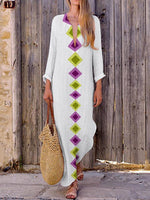 Shecici Stand Collar Light_green Women Beach Long Sleeve Holiday Tribal Casual Dress
