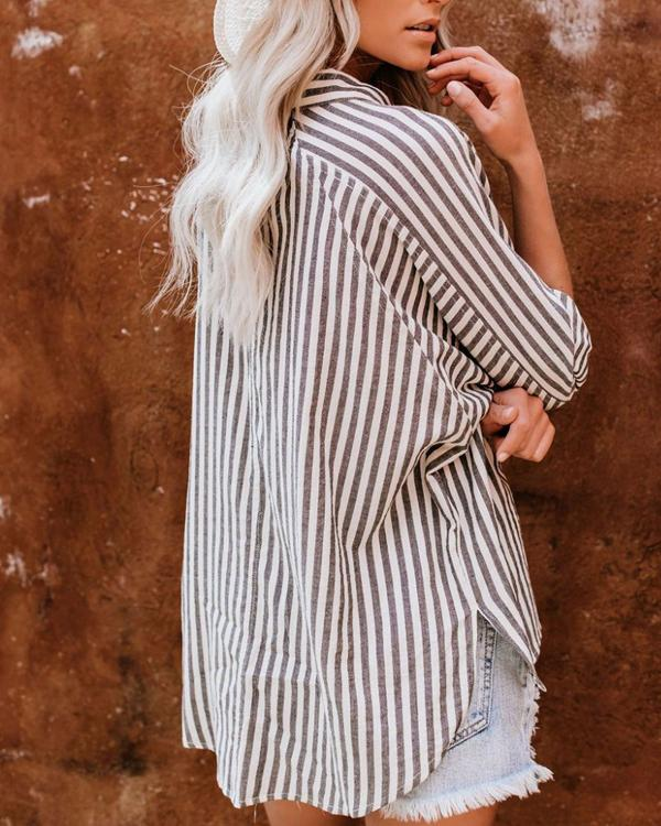 Casual Striped Pocket Long Sleeve Shirts Tops