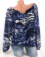 Casual Tiger Striped Plus Size Top Loose Blouse
