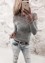 Cold Shoulder Lace Insert Front Long Sleeves T-shirt
