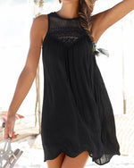 Crew Neck Women Summer Mini Dresses Daily Cutout Solid Dresses