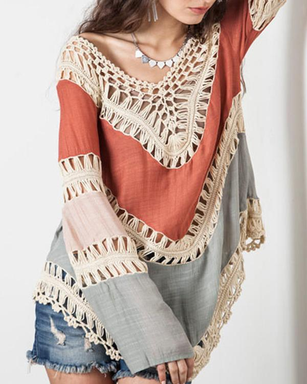 Women Casual Long Sleeve Lace Knitwear Pullover Crochet Blouse Tops