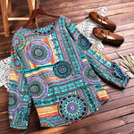 Vintage Long Sleeve Tribal Printed Blouses Tops