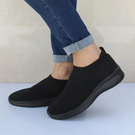 Breathable Jackeline Slip On Sneakers Fly-knit Fabric Athletic Sneakers