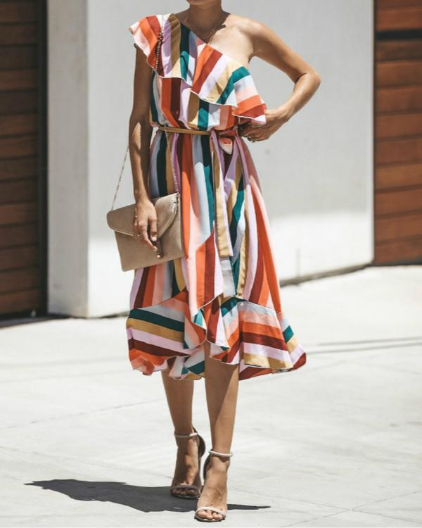 Multicolor One-shoulder Striped Printed Dresses