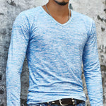 Men's Slim Fit V-Neck Long Sleeve T-Shirt Casual Tops