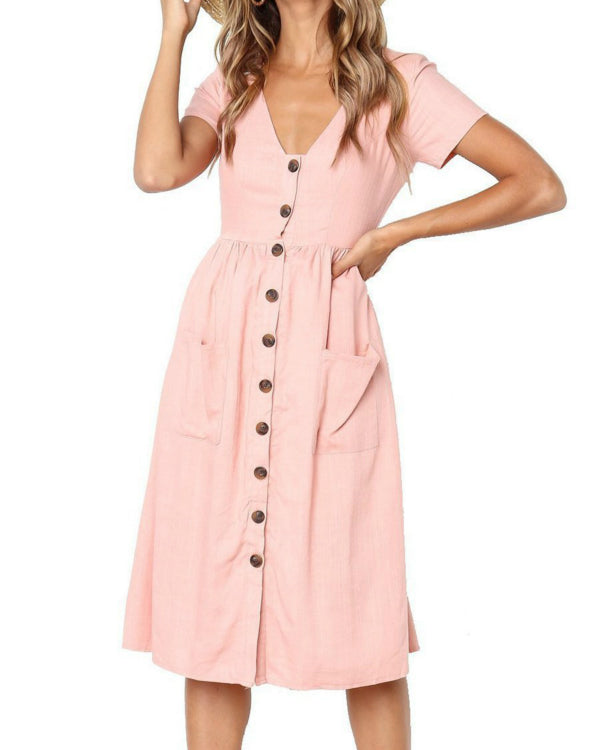 V Neck Patch Pocket Single Breasted Plain Summer Dress