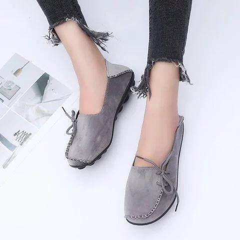 Women Flocking Flats Round Toe Style With Bownot Plus Sizes