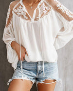 Sexy Plain Loose Lace Sun-Protective Blouses Tops