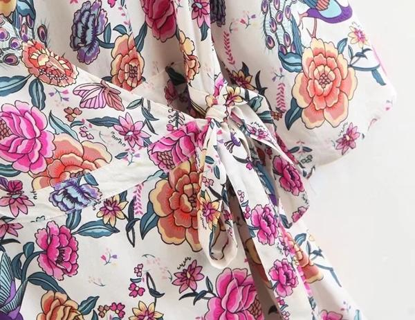 Women Casual Sexy Deep V Neck Bohemian Floral Print Sandbeach Mini Dress