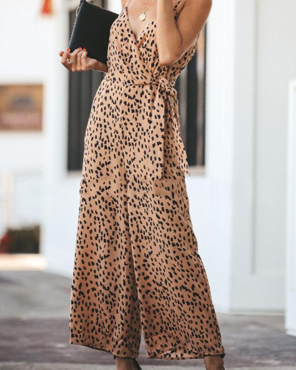 Sexy Leopard Dot Printed Lace-Up Sleeveless Jumpsuits
