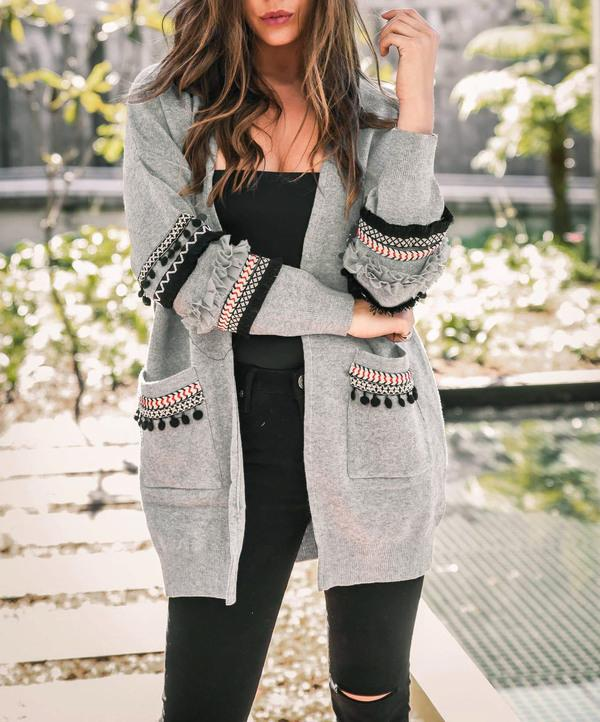 Womens Casual Light Weight Open Front Long Sleeve Boho Knit Sweater Cardigan With Pockets