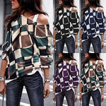 Plus Size Long Sleeve Vintage Geometric Cotton T-Shirts Tops