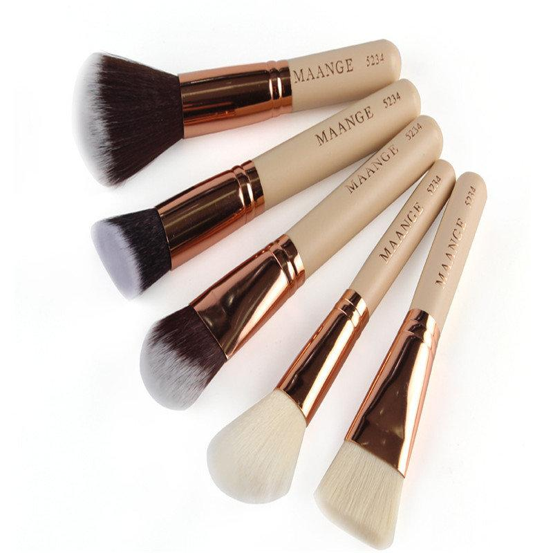 MAANGE 15Pcs/Set Professional Wooden Handle Foundatation Makeup Brushes Cosmetic Brush Kit