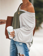 Women Fashion Color-Block V Neck T-shirts Tops