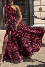 Women's Sexy One Shoulder Leopard Maxi Dress