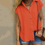 Casual Lapel Solid Color Short Sleeve Blouses Tops