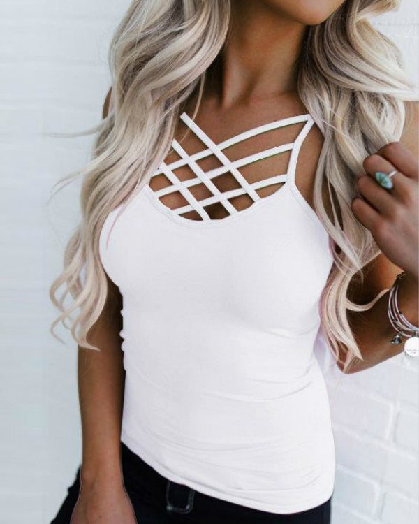 Solid Color Criss Cross Cami Tops
