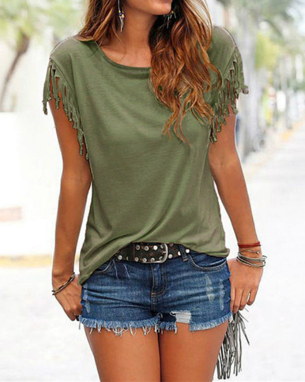 8c022555b65e89 Women Casual Crew Neck T-shirt With Tassel Details