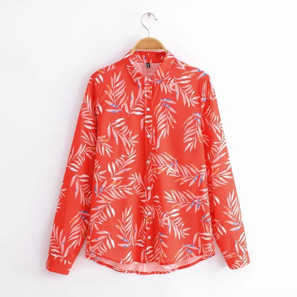Vintage Casual Print Lapel Long Sleeve Blouses