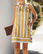 Summer Sleeveless Vacation Striped Button Mini Dress