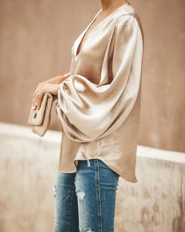 Fashion V Collar Plain Lantern Sleeve Loose Blouses