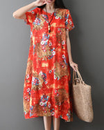 Crew Neck Women Dresses Shift Holiday Casual Cotton Printed Dresses