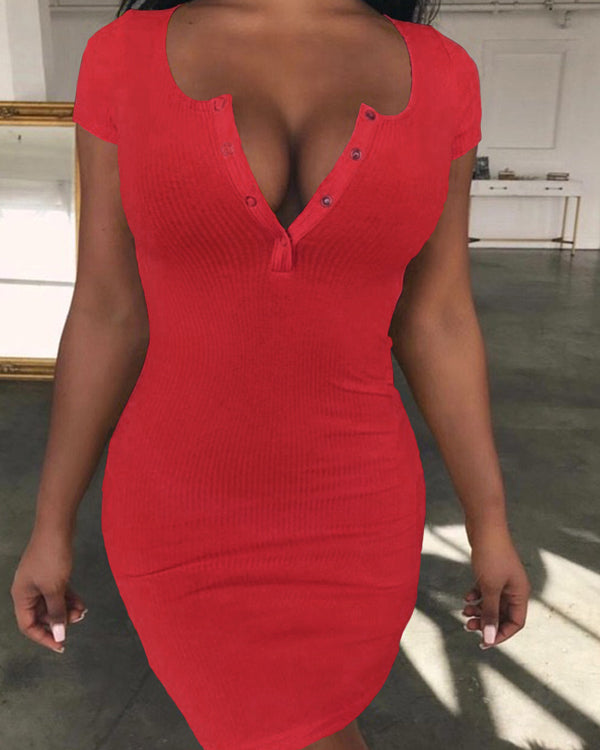 2019 Summer Solid Color V-Neck Sexy Party Dress
