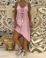Women Summer Straps Plain Shift Asymmetric Hem Dress