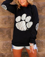 Women Casual Foot Print Crew Neck Long Sleeve T-shirts Tops