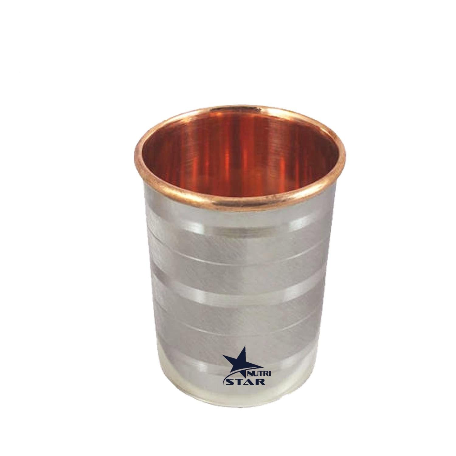 Pure Copper Glass with stainless Steel body | Stainless Steel Copper Glass | Capacity = 300 ml