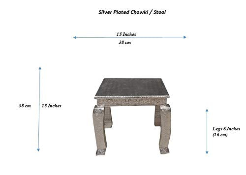 Silver Fancy Chowki Marriage Stool Length = 15 inch, Breadth = 15 inch and 9 inch Leg