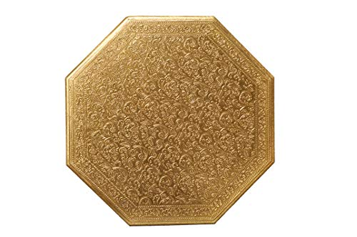 Pure Brass Sheet Handcrafted Chowki 8 Sided Polygon Chowki. Diameter = 18 Inch x 18 Inch