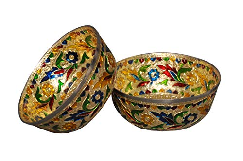 Stainless Steel Bowl Meenakari Handcrafted. (Set of 2) Capacity = 200 ml