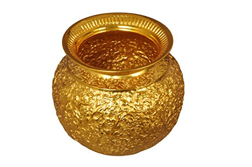 Pure Copper Pot - Gold Coated with Kashmiri Carved Design