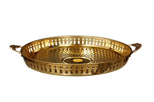 Pure Brass Round Tray Diameter = 11 Inch (28 cm)