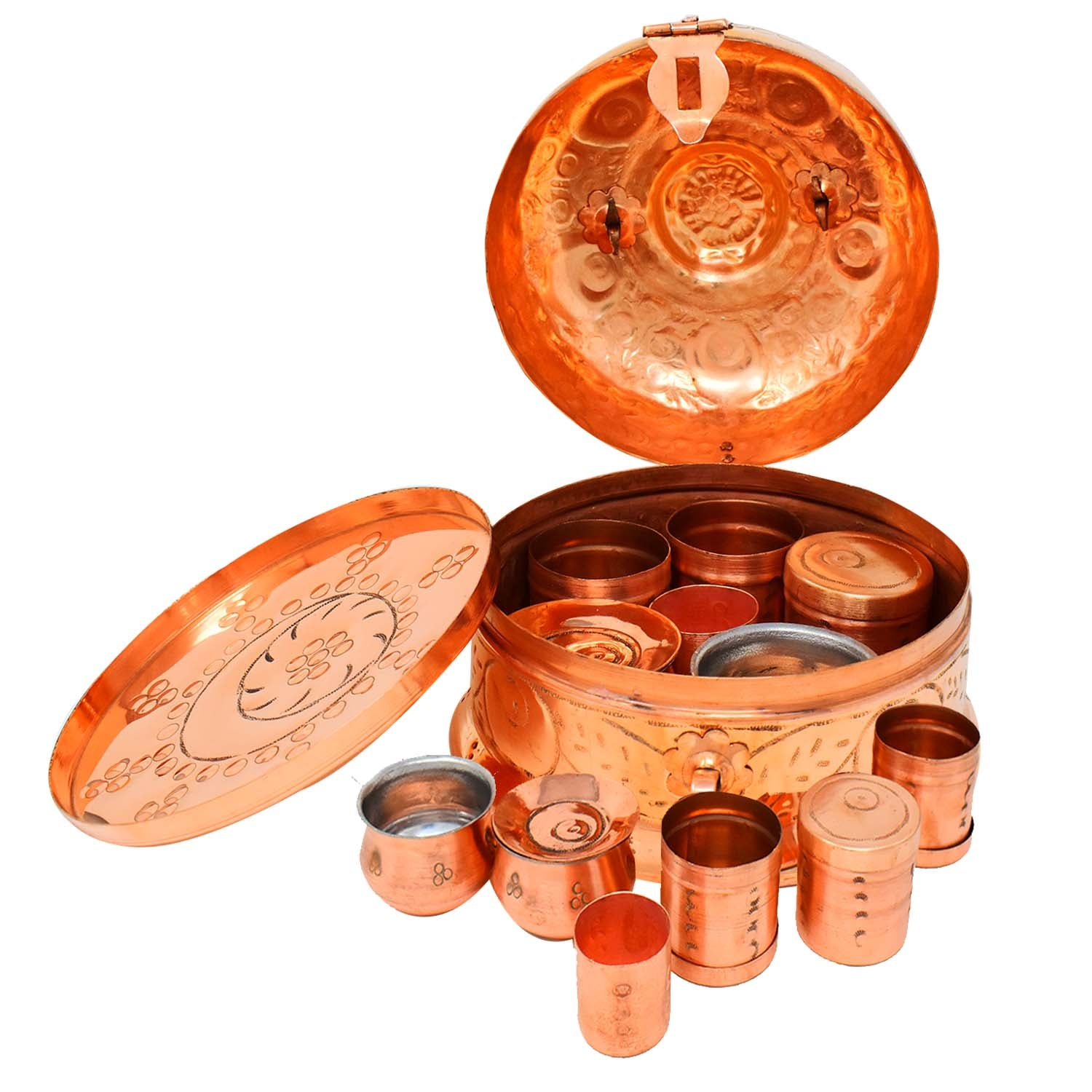 Copper Storage Box | Copper Masala Box | Copper Pan daan