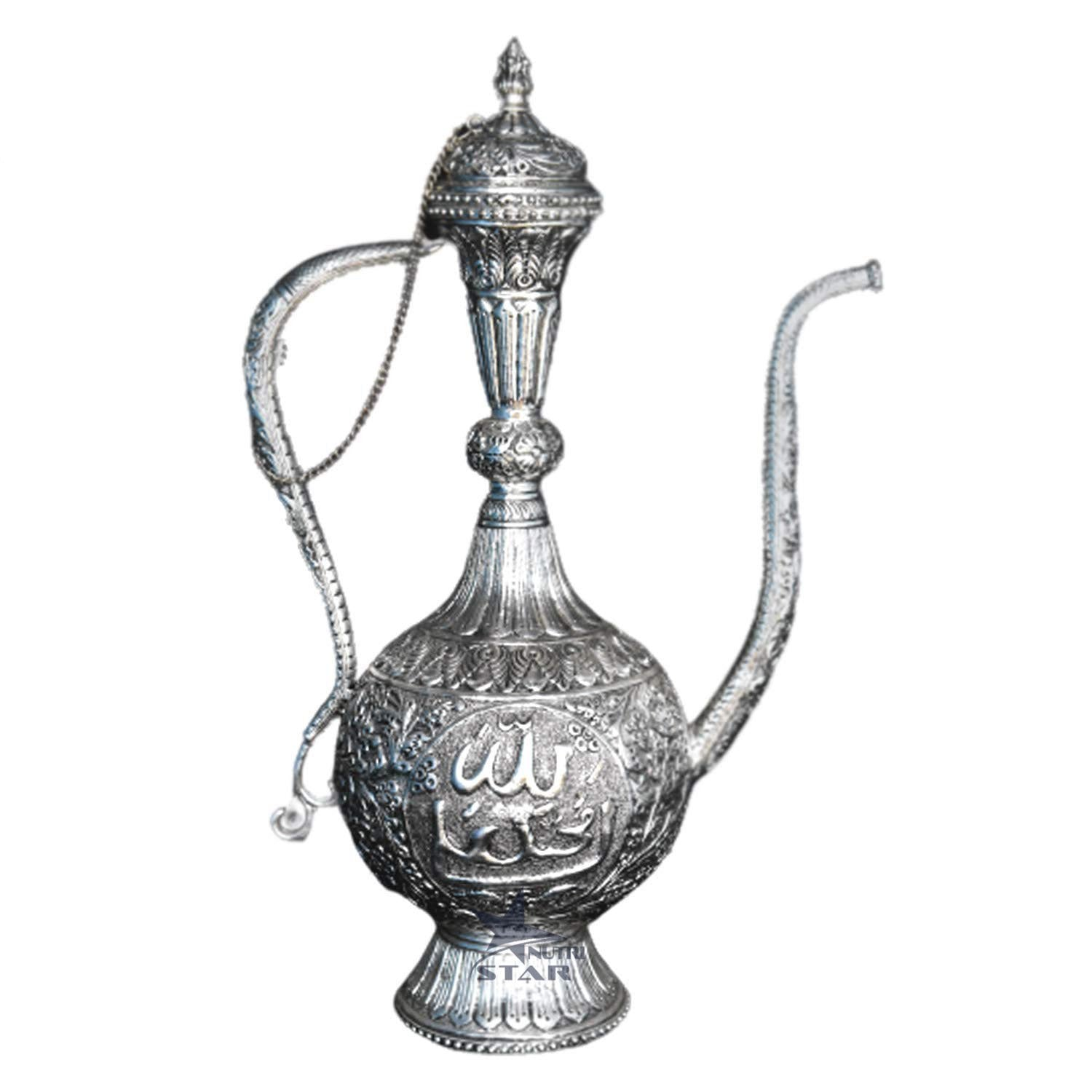 Hand Crafted Aftaba Showpiece with Nakkashi Design. Pure Copper Silver Coated Surhai mughul era- Showpiece for Home Decor.