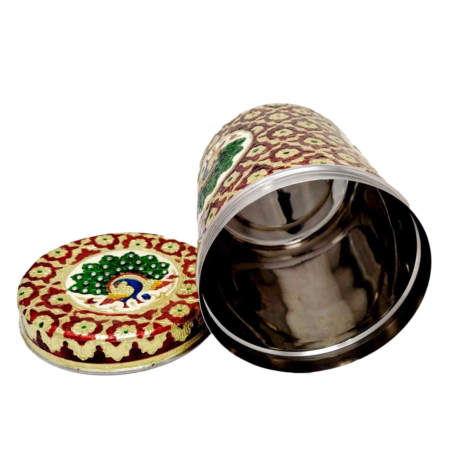 Stainless Steel Box Set | Meenakari Box Stainless Steel Set of Five Kitchen Box | Kitchen Container.