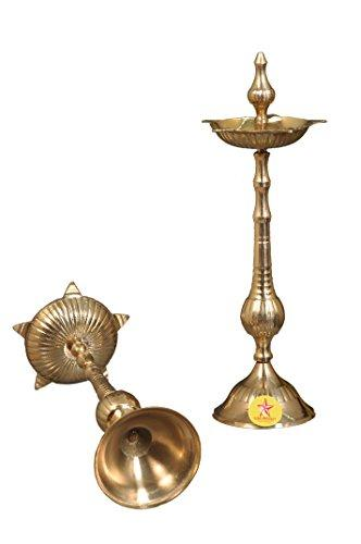 Nutristar Pure Brass Diya Inaugration Lamp Pure Brass (2 Piece Set) Height = 6 Inch