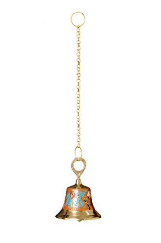 Nutristar Pure Brass Antique Looking Colorful Handcrafted Hanging Bell