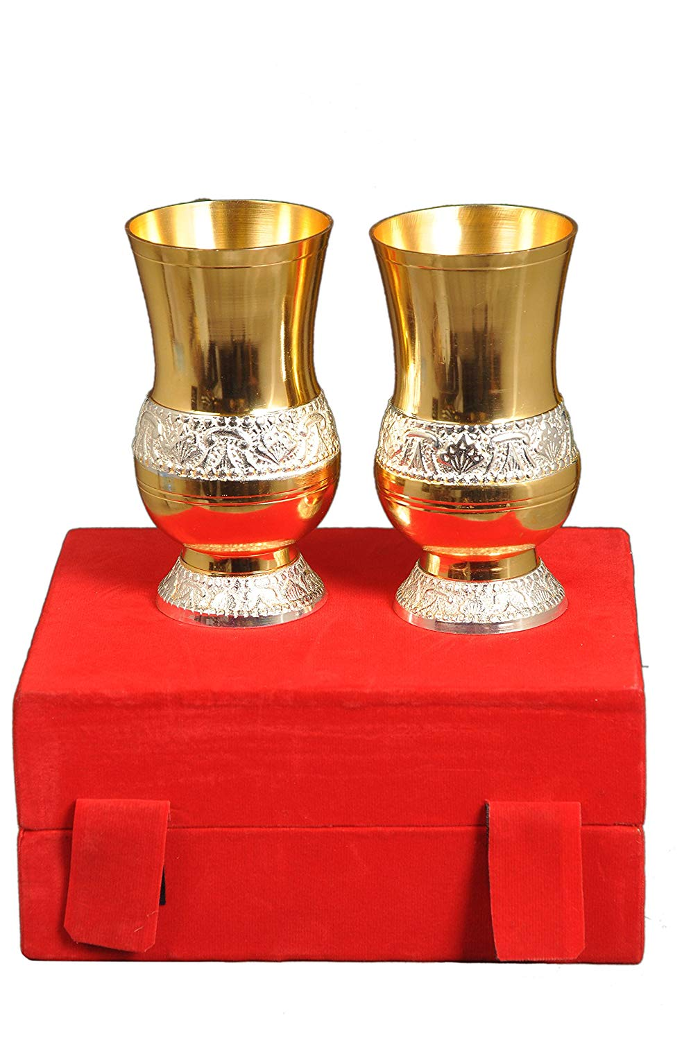 ure Brass Glasses Set of Two Red Box Gift Box. Water Glasses, Cocktail Glasses