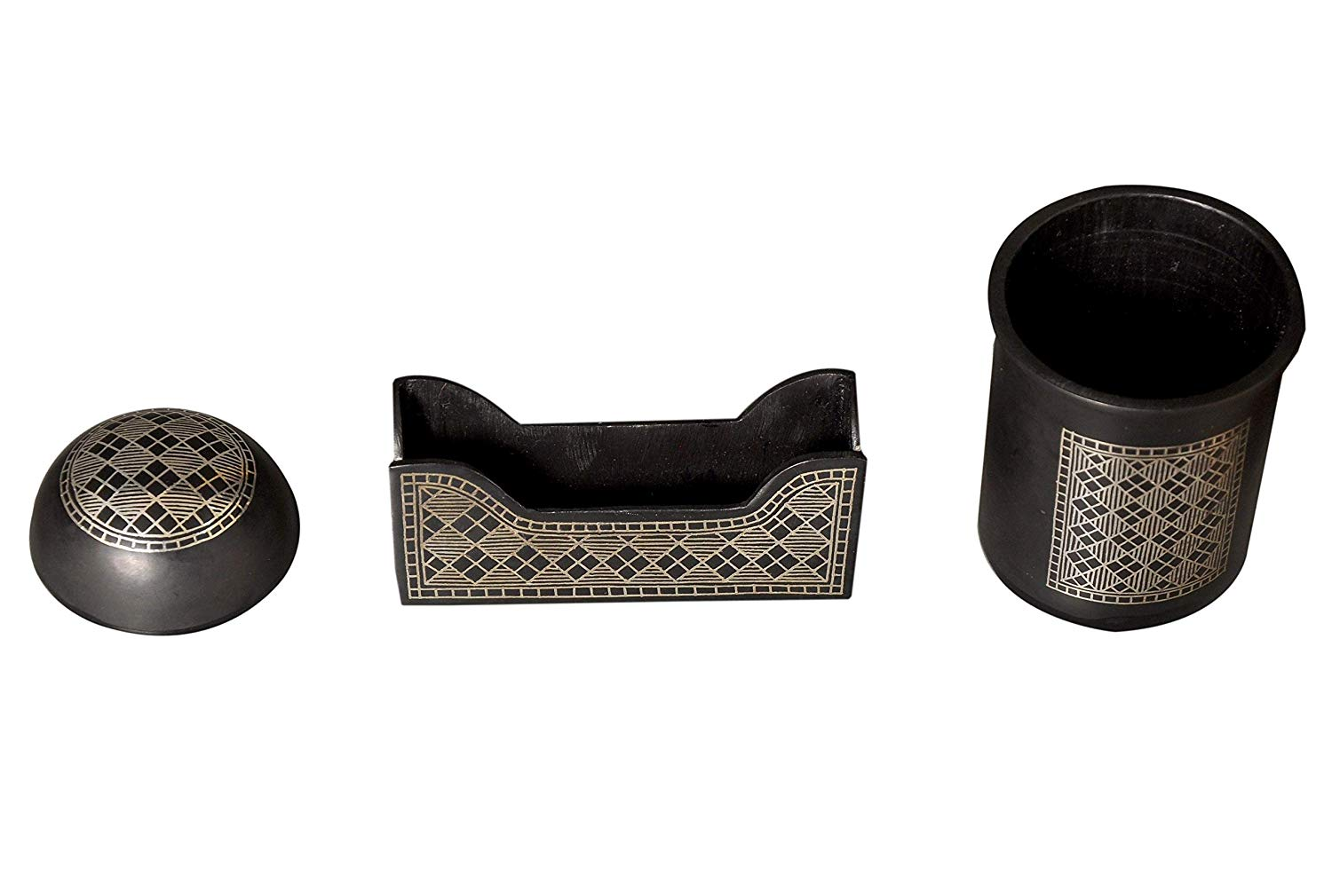 Bidri Art Work Office Table Accessories Handcrafted in Pure Silver.