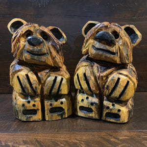 Pine Carved Bear: Sitting - Rusty Moose Marketplace